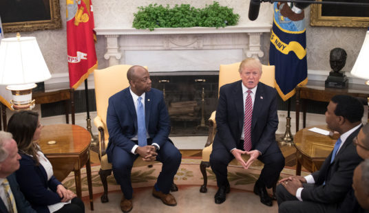President in oval meeting with Tim Scott